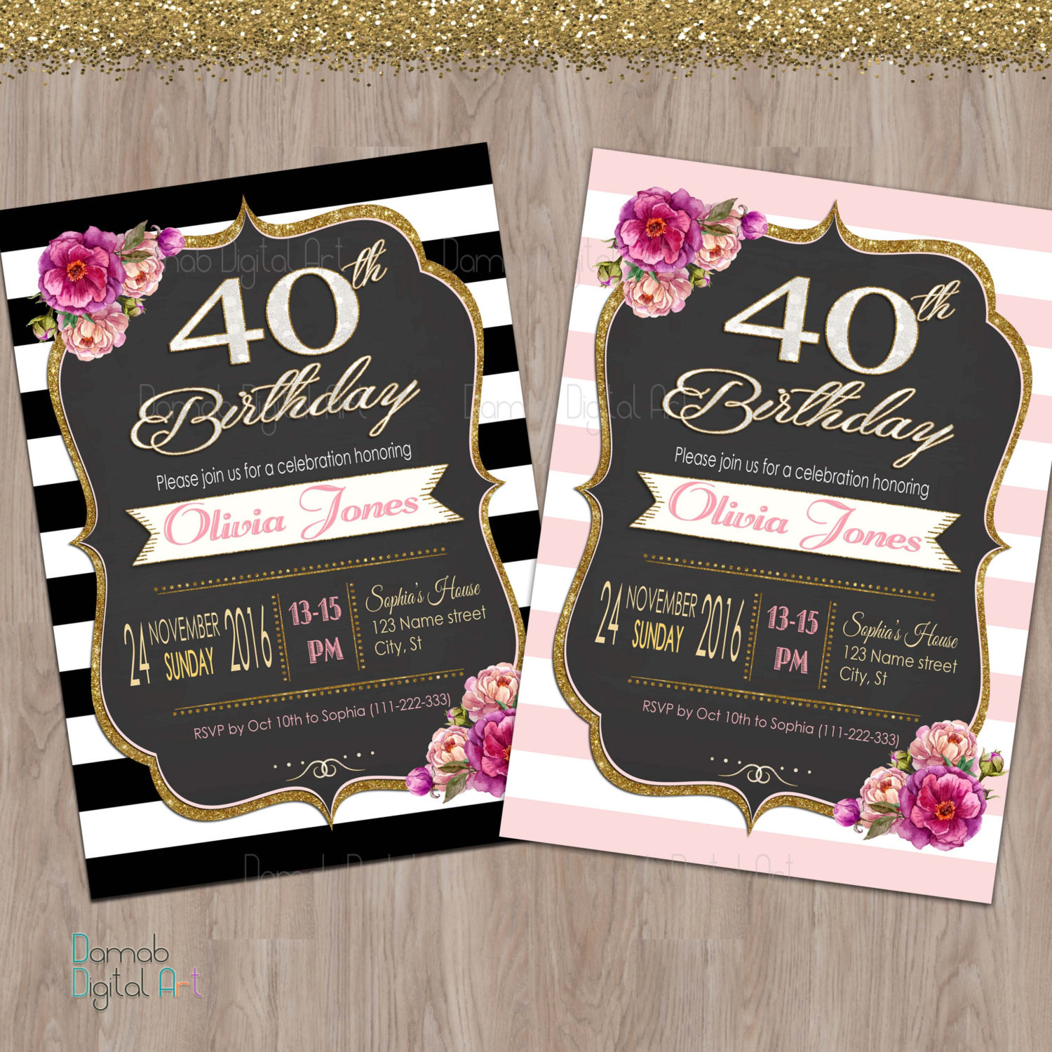 Best ideas about 40th Birthday Invitations For Him . Save or Pin 40th birthday invitation women 40th birthday invitation for Now.