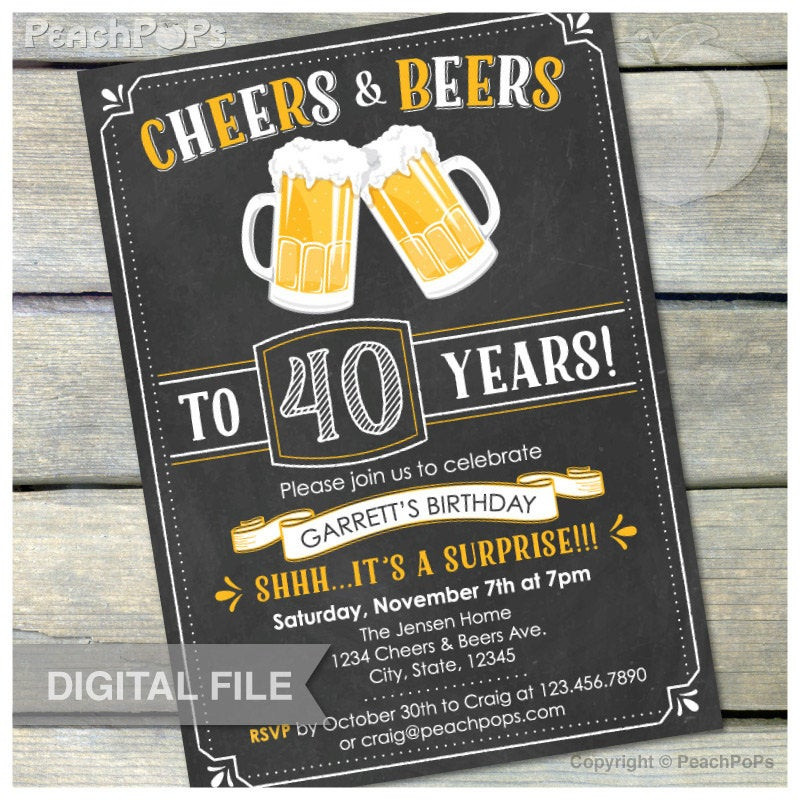 Best ideas about 40th Birthday Invitations For Him . Save or Pin Surprise 40th Birthday Invitation Cheers & Beers Invite Now.