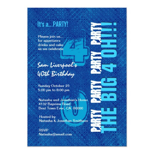Best ideas about 40th Birthday Invitations For Him . Save or Pin 40th Birthday For Him Royal Blue and Aqua W1502 Card Now.