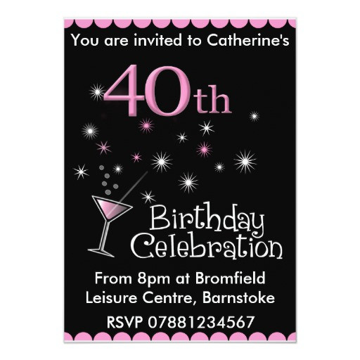 Best ideas about 40th Birthday Invitations For Him . Save or Pin 40th Birthday Party Invitation Cocktail Glass Now.