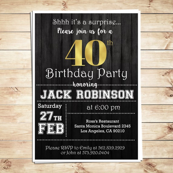 Best ideas about 40th Birthday Invitations For Him . Save or Pin Surprise 40th birthday party invitations for him Men 40th Now.