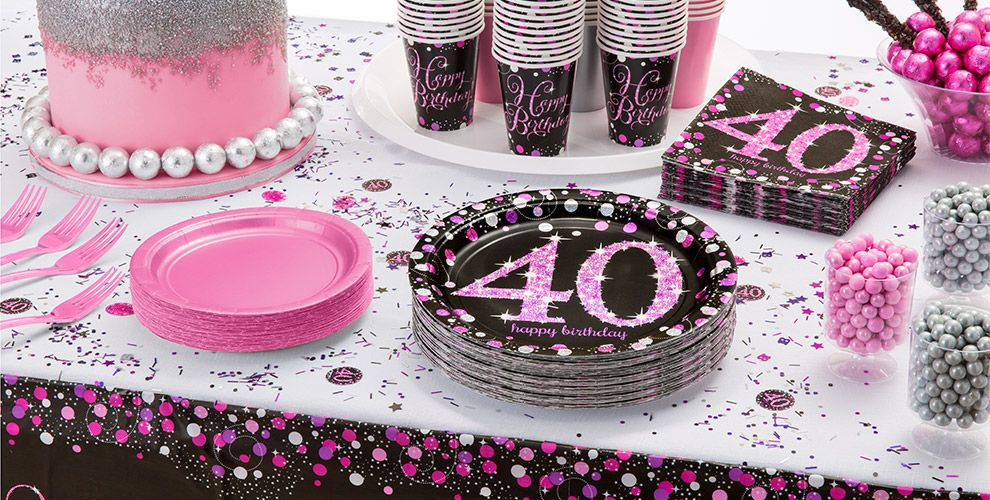 Best ideas about 40th Birthday Party Decorations Ideas . Save or Pin Pink Sparkling Celebration 40th Birthday Party Supplies Now.