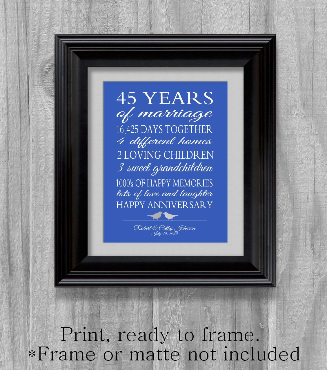 Best ideas about 45Th Wedding Anniversary Gift Ideas . Save or Pin 45th Anniversary Gift Parents Sapphire Blue Personalized Love Now.