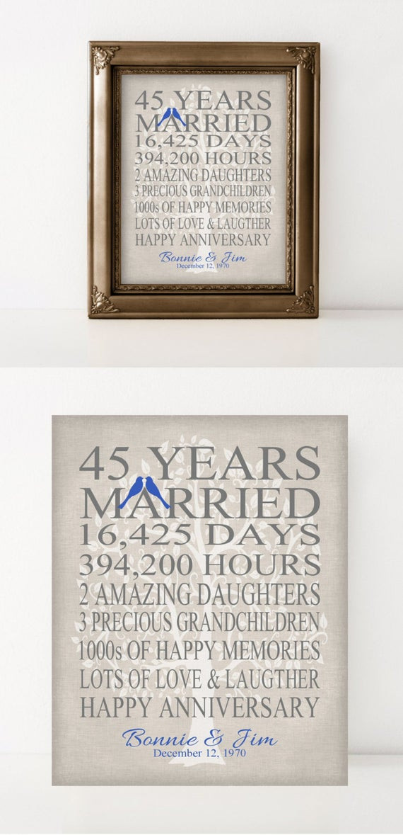 Best ideas about 45Th Wedding Anniversary Gift Ideas . Save or Pin 45th Wedding Anniversary Gift for Parents by PrintsbyChristine Now.