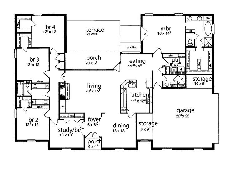 Best ideas about 5 Bedroom House Plans . Save or Pin floor plan 5 bedrooms single story Now.