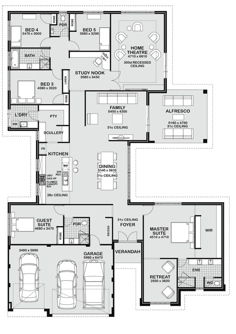 Best ideas about 5 Bedroom House Plans . Save or Pin Floor Plan Friday 5 bedroom entertainer Now.