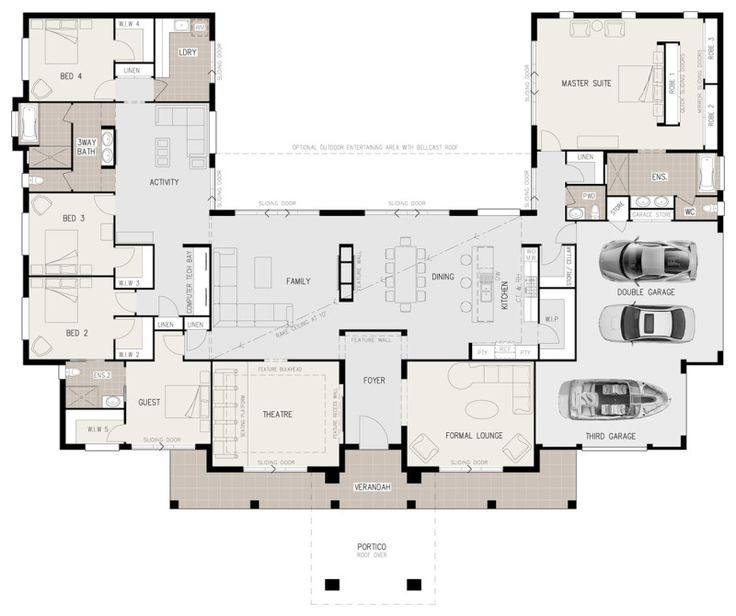 Best ideas about 5 Bedroom House Plans . Save or Pin Floor Plan Friday U shaped 5 bedroom family home Now.