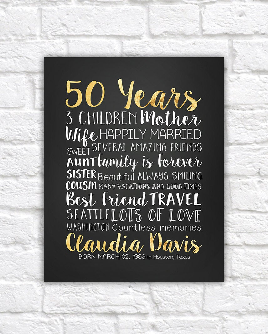 Best ideas about 50 Year Birthday Gifts . Save or Pin 50 Years 50th Gift Golden Year 50 Years Old Turning 50 Now.