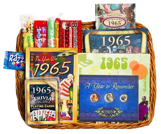 Best ideas about 50 Year Birthday Gifts . Save or Pin 50th Birthday Gift Basket for 1965 or 1966 Now.