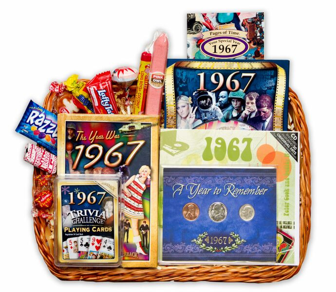 Best ideas about 50 Year Birthday Gifts . Save or Pin 50th Birthday Gift Basket for 1967 Now.