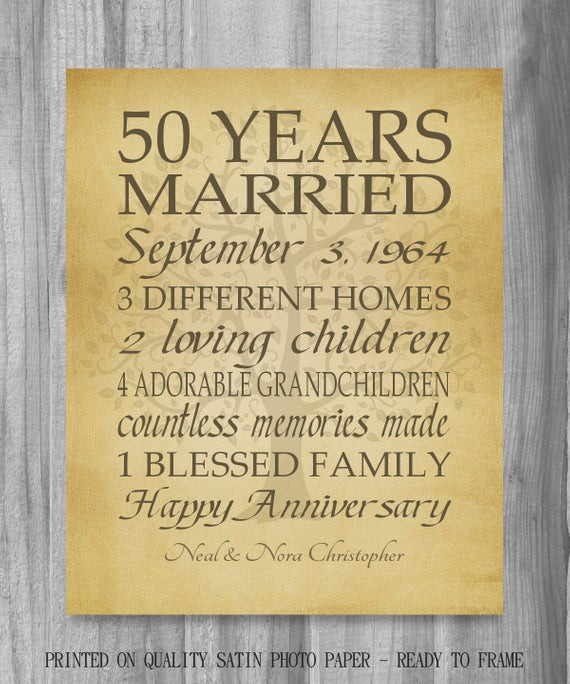 Best ideas about 50 Year Birthday Gifts . Save or Pin 50th Anniversary Gift Golden Anniversary 50 Years Personalized Now.