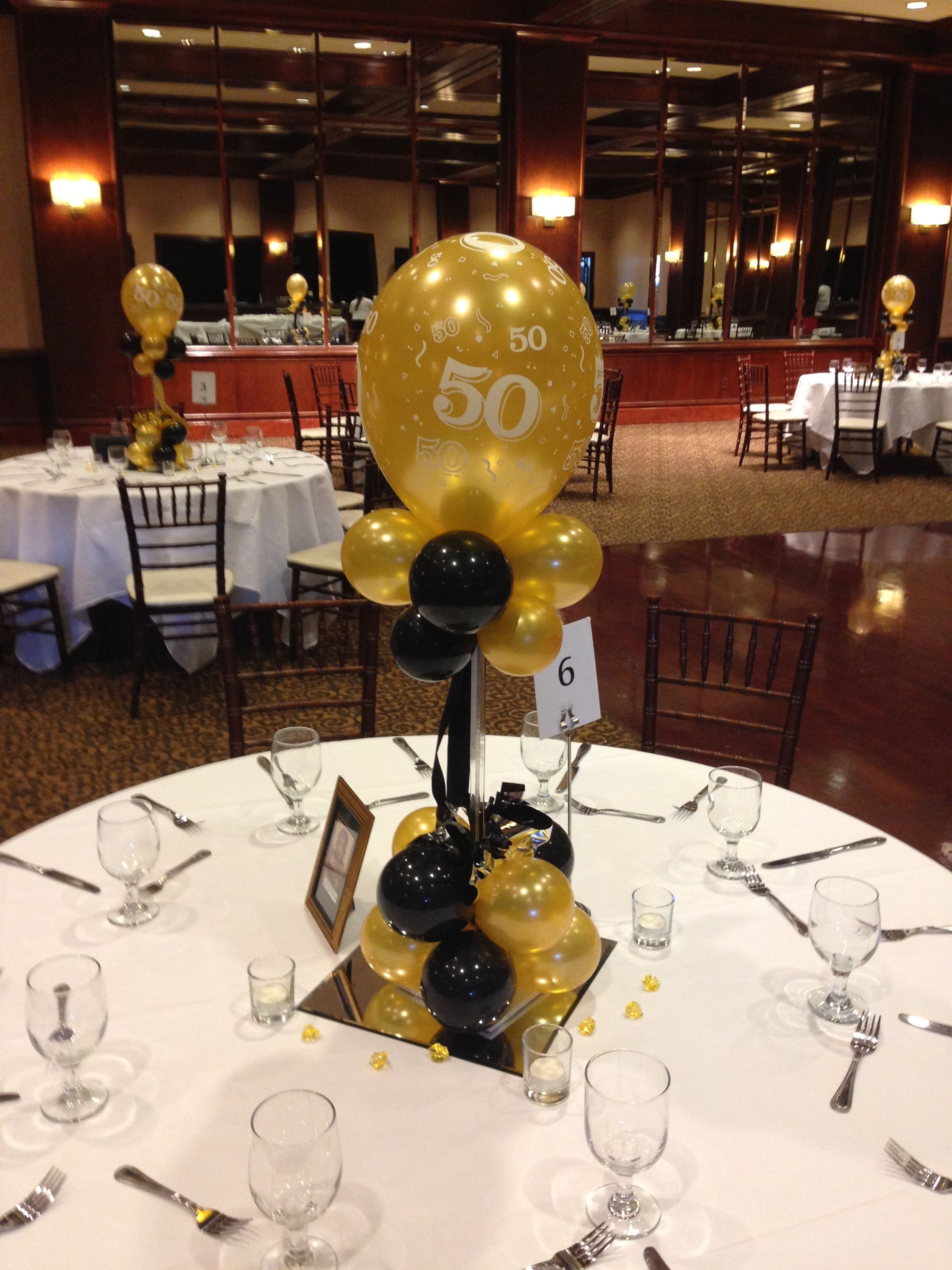 Best ideas about 50th Birthday Table Decorations . Save or Pin Black and gold balloon centerpieces for a 50th birthday or Now.