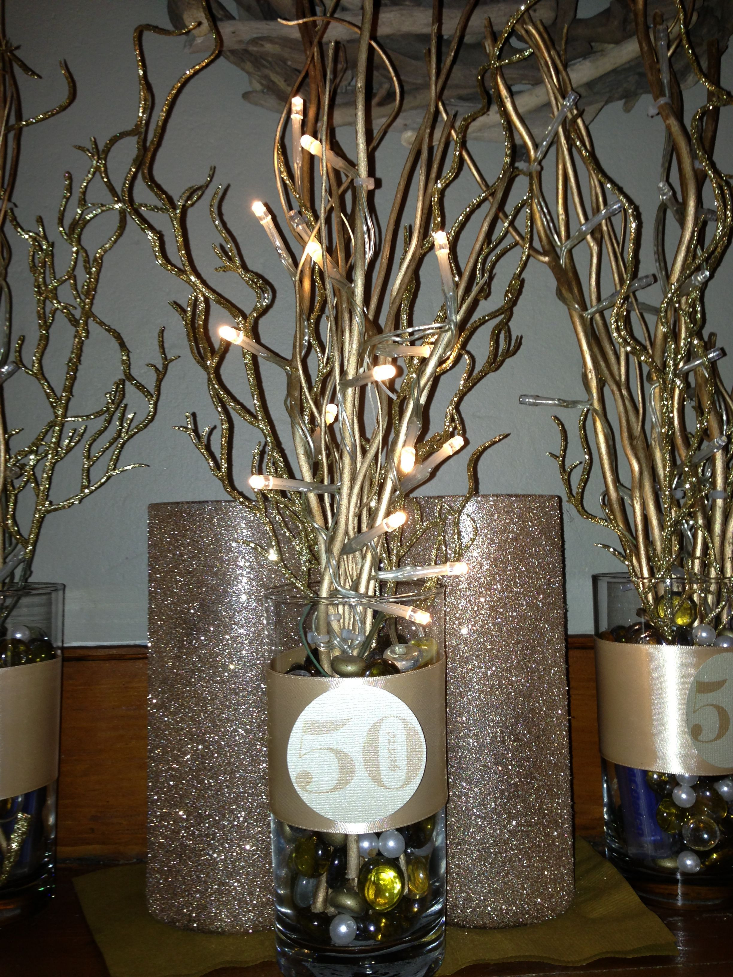 Best ideas about 50th Birthday Table Decorations . Save or Pin 50 th anniversary centerpiece Now.