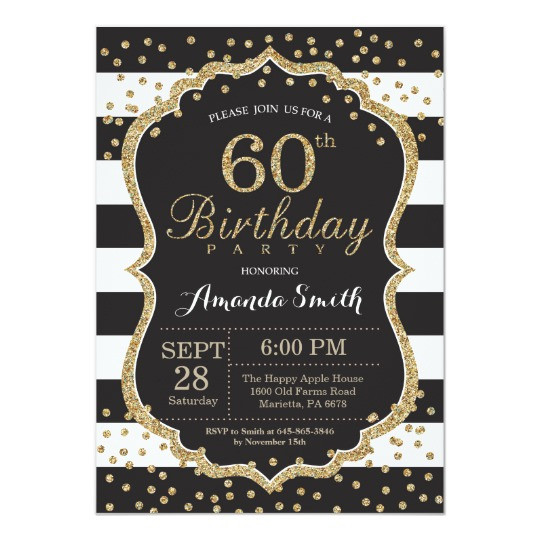 Best ideas about 60 Birthday Invitations . Save or Pin 60th Birthday Invitation Black and Gold Glitter Card Now.