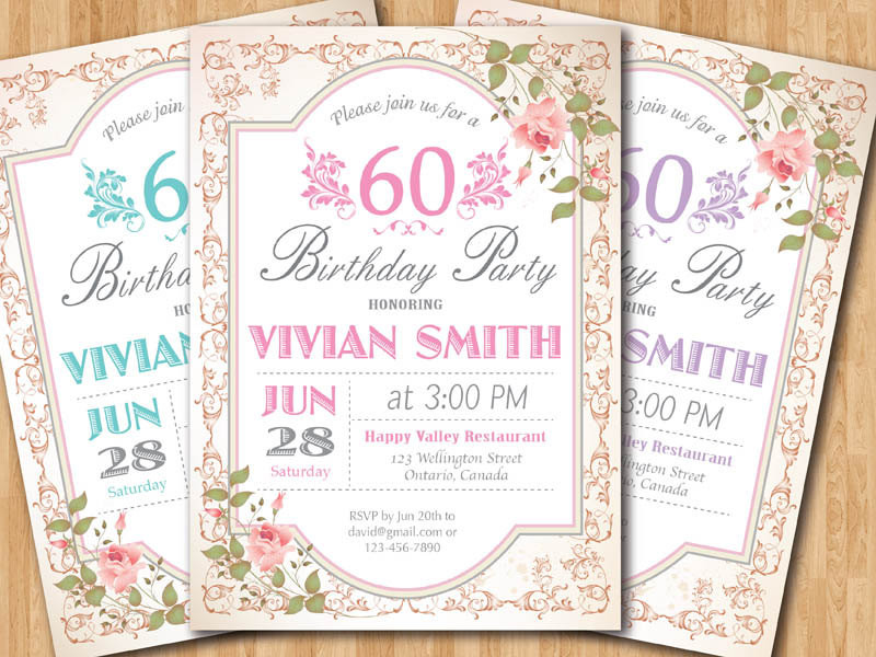 Best ideas about 60 Birthday Invitations . Save or Pin 60th Birthday Invitation Women Surprise Birthday Adult Now.