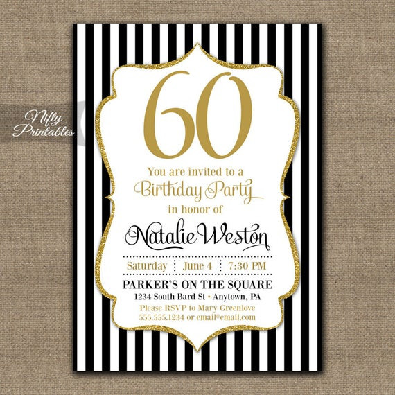 Best ideas about 60 Birthday Invitations . Save or Pin 60th Birthday Invitations Black & Gold Glitter 60 Bday Now.