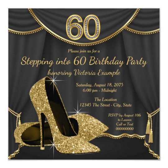 Best ideas about 60 Birthday Invitations . Save or Pin Black Gold Shoe Stepping into 60 Birthday Party Card Now.