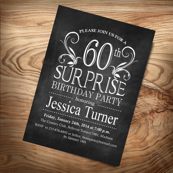 Best ideas about 60 Birthday Invitations . Save or Pin Items similar to 60th Surprise Birthday Invitation DIY Now.