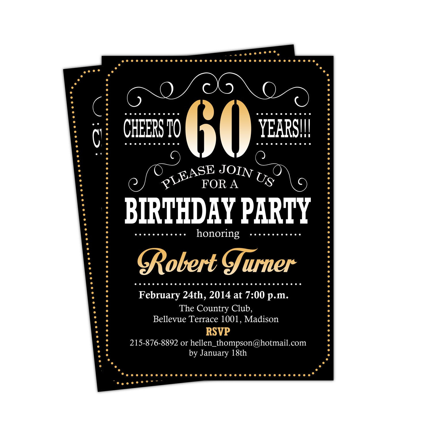 Best ideas about 60 Birthday Invitations . Save or Pin 60th Birthday Invitation Cheers To 60 Years Any Age Gold Now.