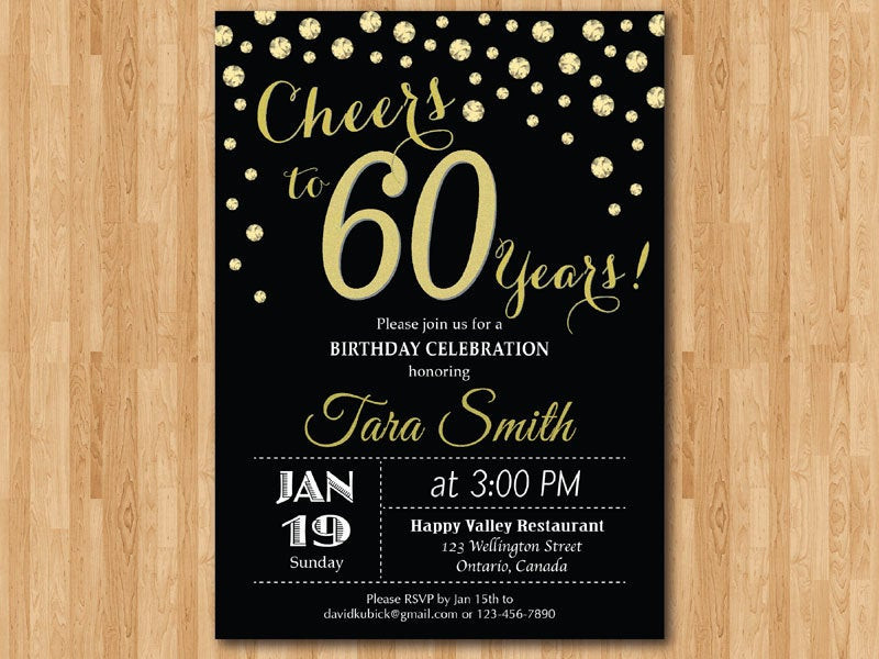 Best ideas about 60 Birthday Invitations . Save or Pin 60th birthday invitation Gold Glitter Cheers to 60 Years Now.