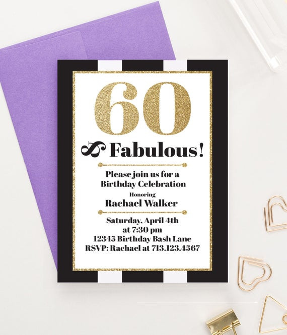 Best ideas about 60 Birthday Invitations . Save or Pin 60 and Fabulous Milestone Birthday Invitations Adult Now.