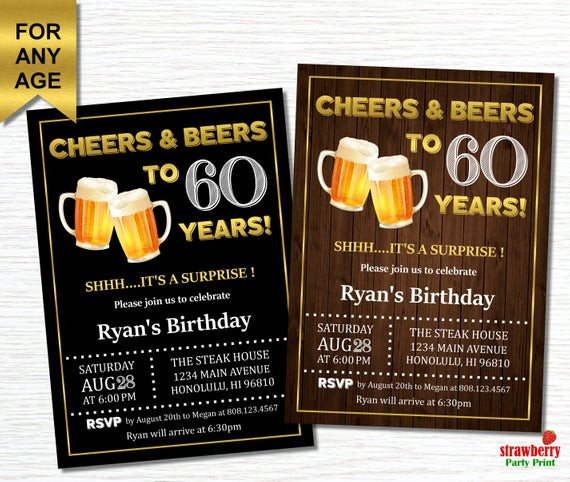 Best ideas about 60 Birthday Invitations . Save or Pin 60th Birthday Invitations for Men Cheers and Beers to 60 Now.