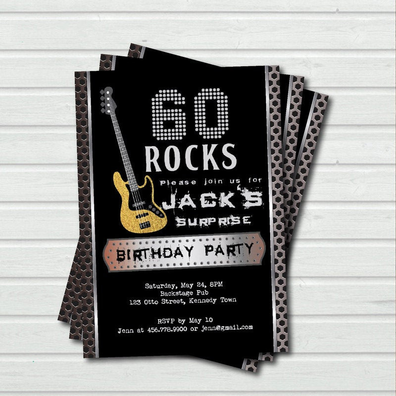 Best ideas about 60 Birthday Invitations . Save or Pin Surprise 60th birthday invitation 60 rock and roll music Now.