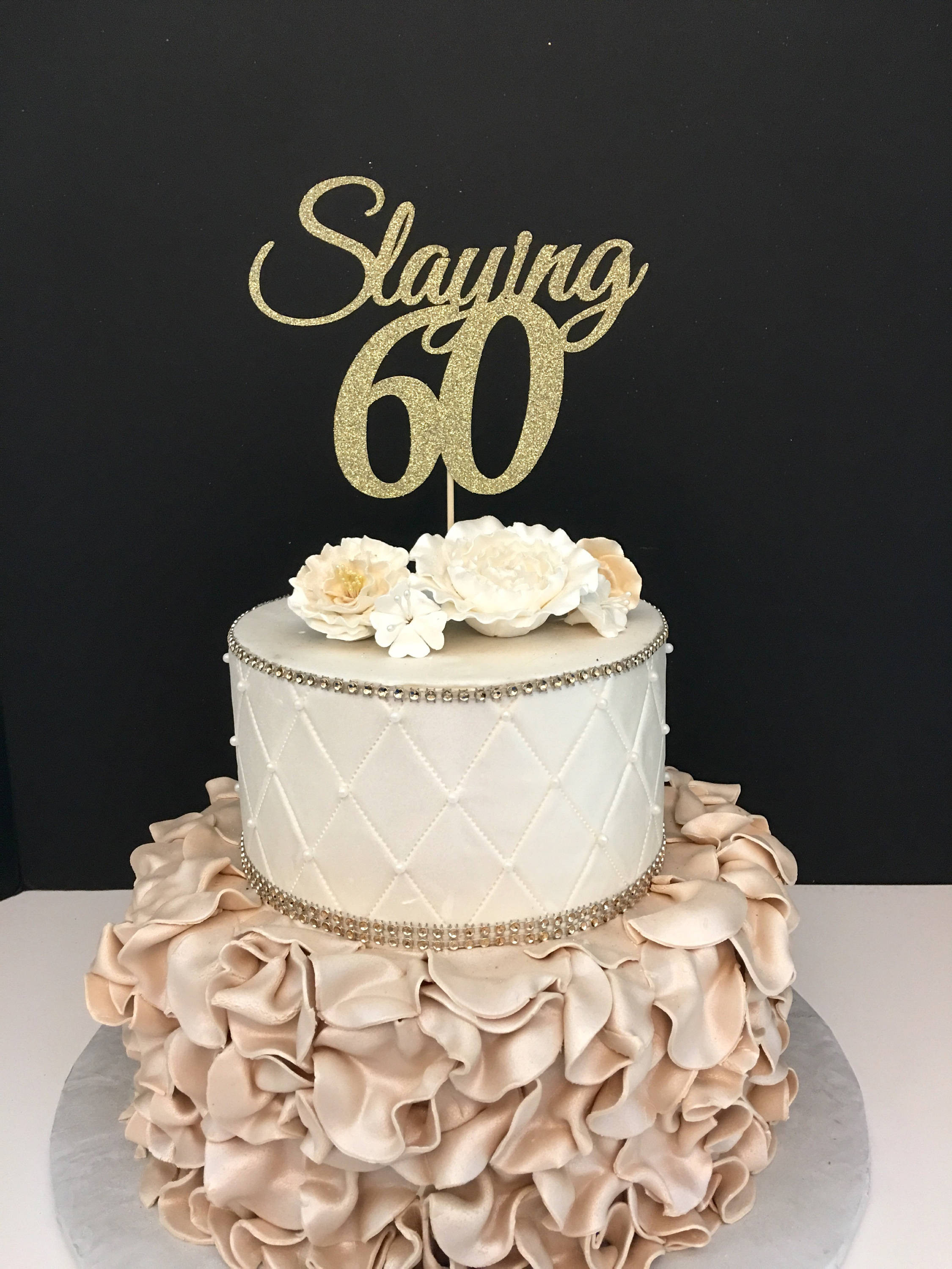 Best ideas about 60th Birthday Cake . Save or Pin ANY NUMBER Gold Glitter 60th Birthday Cake Topper Slaying 60 Now.