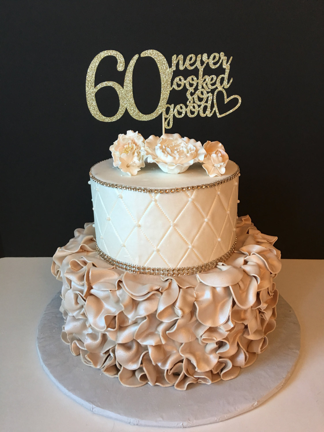 Best ideas about 60th Birthday Cake . Save or Pin ANY NUMBER Gold Glitter 60th Birthday Cake Topper 60 Never Now.
