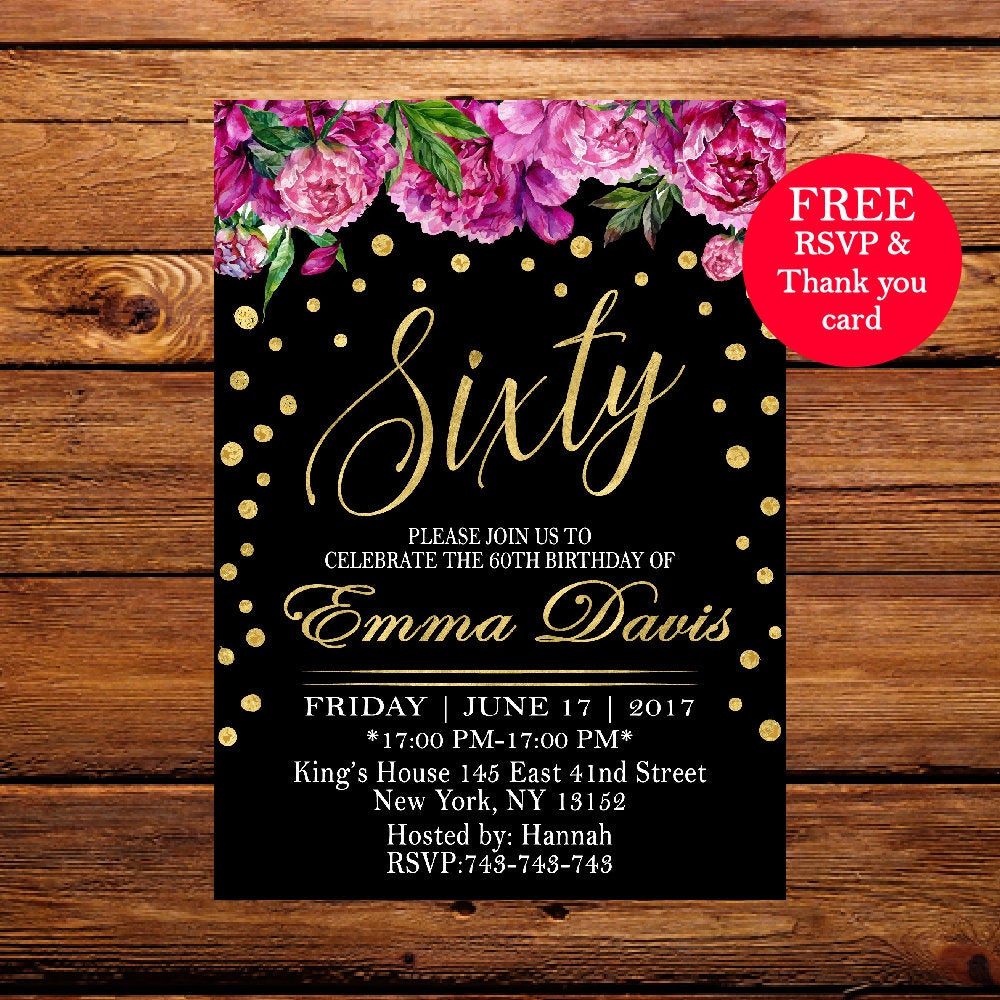 Best ideas about 60th Birthday Invitations . Save or Pin 60th Birthday Invitation Surprise Birthday Party Invitation Now.