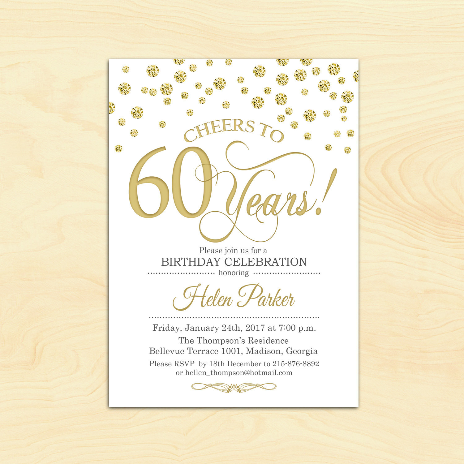 Best ideas about 60th Birthday Invitations . Save or Pin 60th Birthday Invitation Any Age Cheers to 60 Years Gold Now.