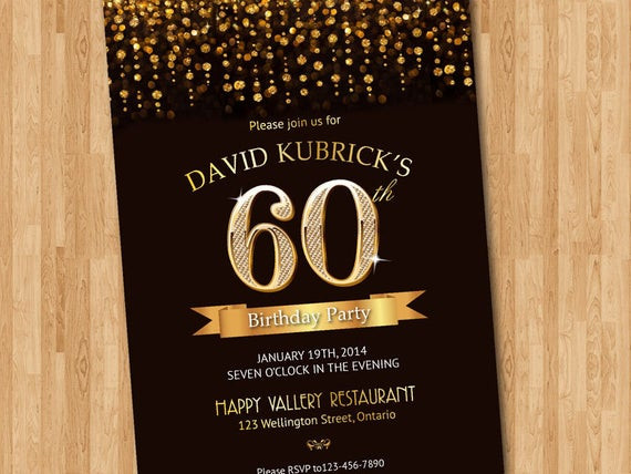 Best ideas about 60th Birthday Invitations . Save or Pin 60th Birthday Invitation Gold glitter diamond number birthday Now.