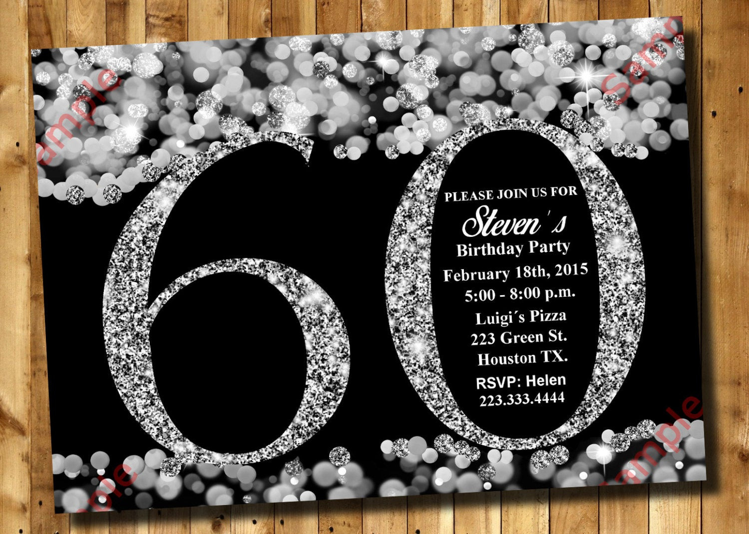 Best ideas about 60th Birthday Invitations . Save or Pin 60th Birthday Invitation Silver Glitter Invitation Adult Now.