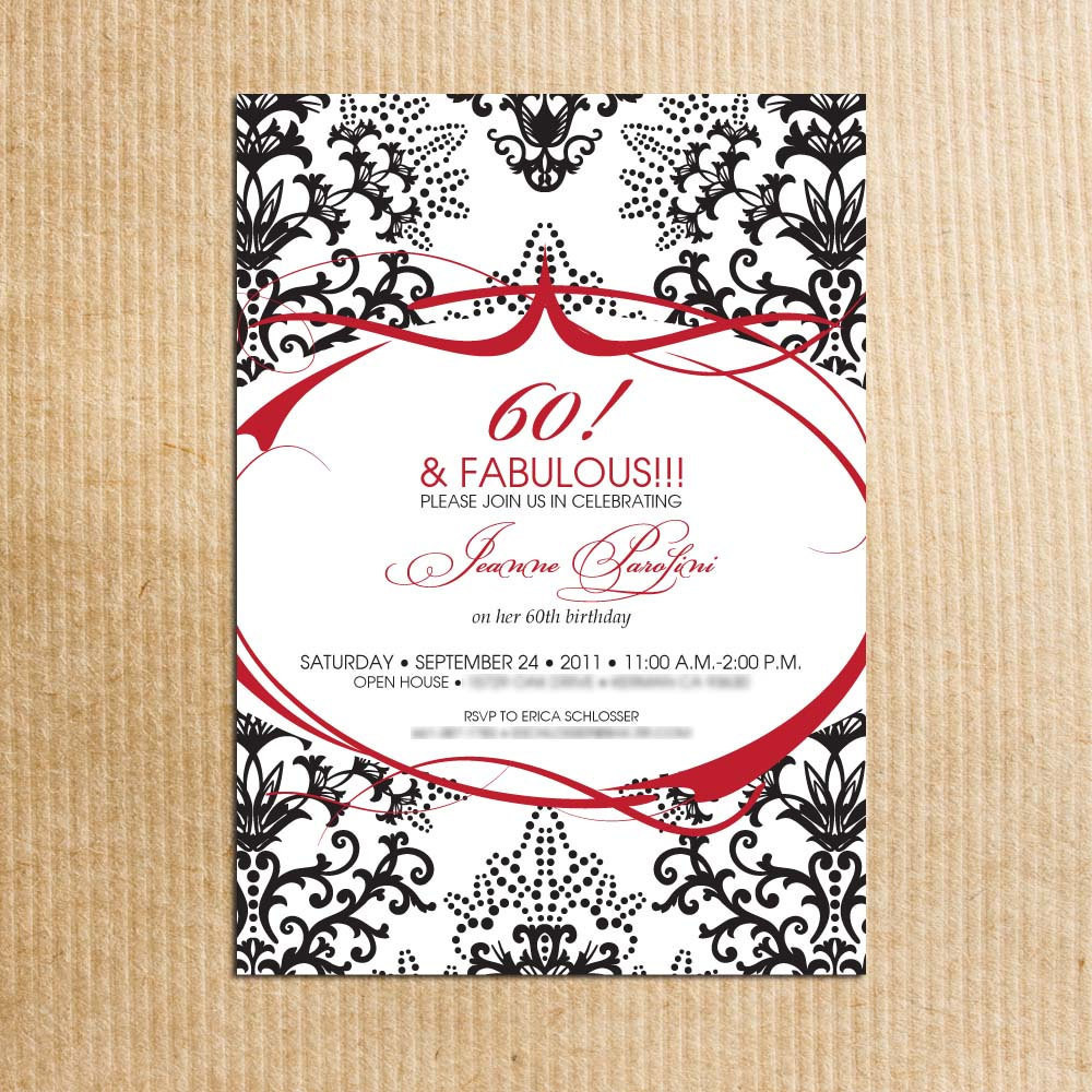 Best ideas about 60th Birthday Invitations . Save or Pin Red Black Damask 60th Birthday Party Invitations Stationery Now.