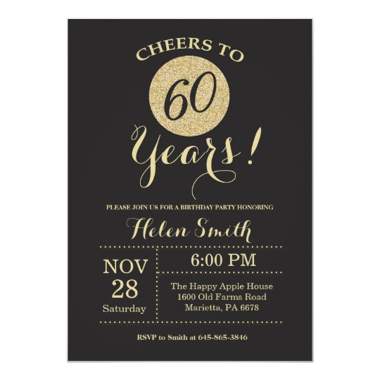 Best ideas about 60th Birthday Invitations . Save or Pin 60th Birthday Invitation Black and Gold Glitter Now.