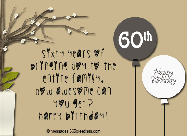Best ideas about 60th Birthday Quotes . Save or Pin 60th Birthday Wishes Quotes and Messages 365greetings Now.