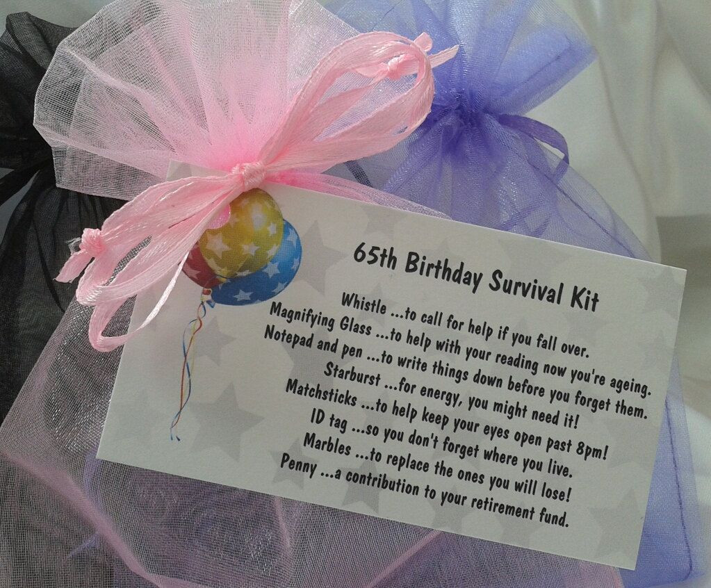 Best ideas about 65Th Birthday Gift Ideas For Mom . Save or Pin Little BAG of BITS 65th survival kit female by Now.
