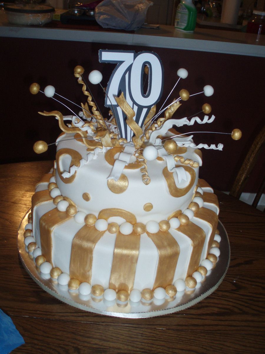 Best ideas about 70th Birthday Cake . Save or Pin 70Th Birthday Cake fondant covered white cakeplease let me Now.