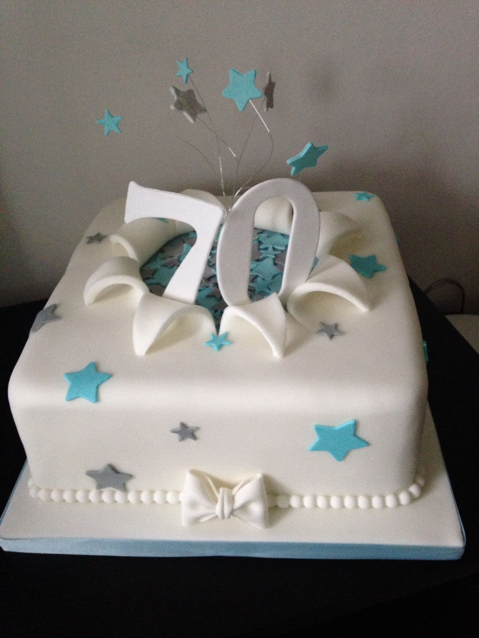 Best ideas about 70th Birthday Cake Ideas . Save or Pin 70th birthday cake in turquoise and silver Cakes Now.
