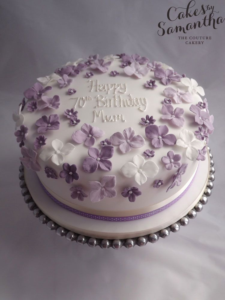 Best ideas about 70th Birthday Cake Ideas . Save or Pin 70th Birthday cake with purple flowers … Now.