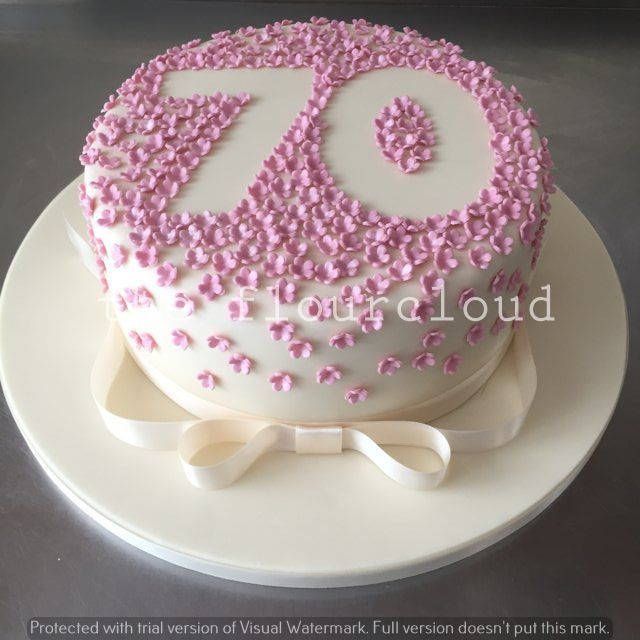 Best ideas about 70th Birthday Cake Ideas . Save or Pin Pretty pink flowers outline for this 70th birthday cake Now.