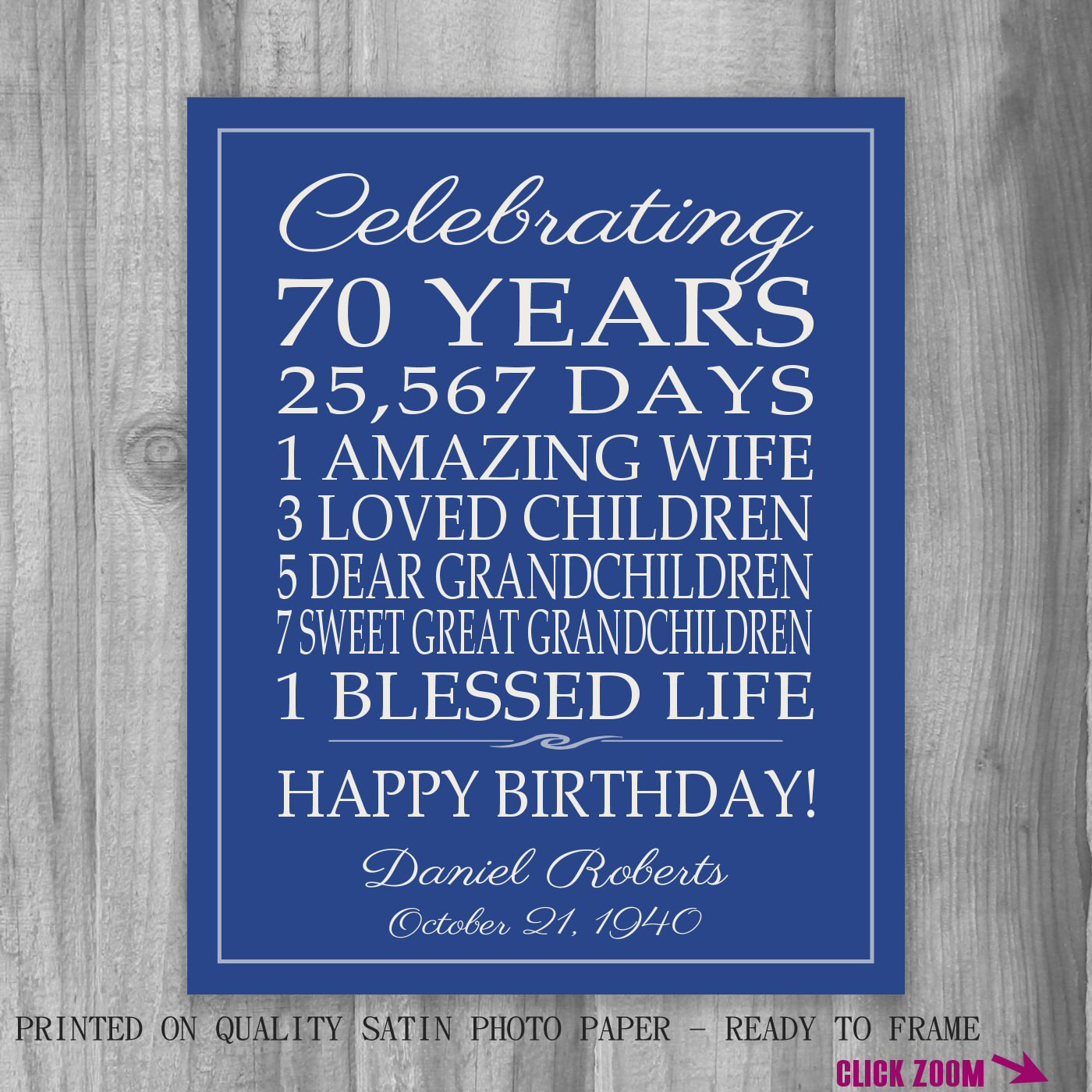 Best ideas about 70Th Birthday Gift Ideas For Dad . Save or Pin 70th BIRTHDAY GIFT Birthday Sign Personalized Gift for Dad Now.