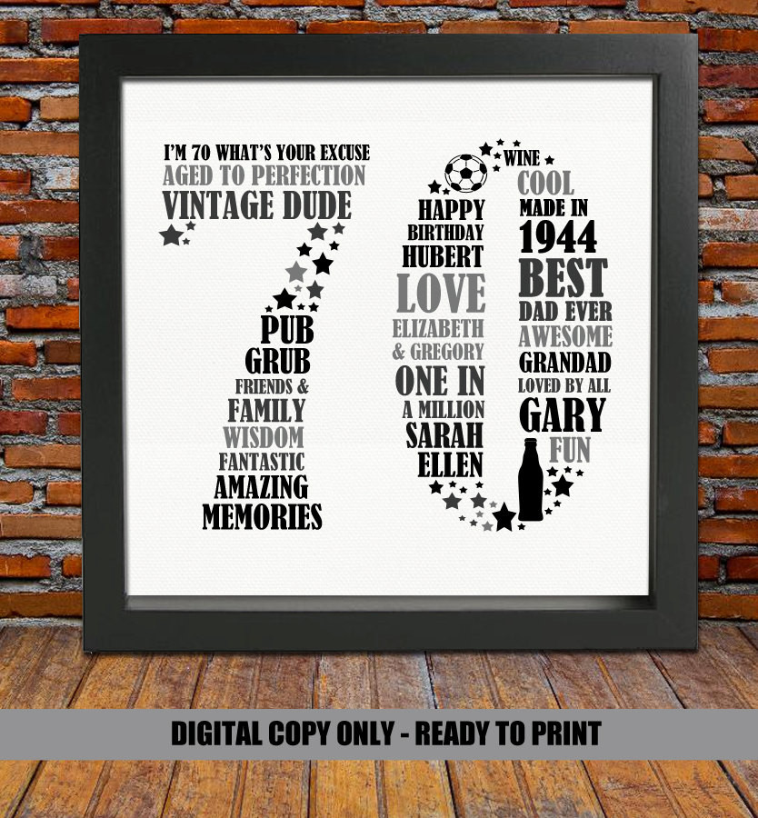 Best ideas about 70Th Birthday Gift Ideas For Dad . Save or Pin Personalized Birthday Gift 70th birthday 70th birthday Now.