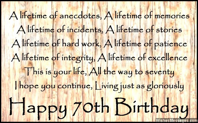 Best ideas about 70th Birthday Quotes . Save or Pin 70th Birthday Poems – WishesMessages Now.