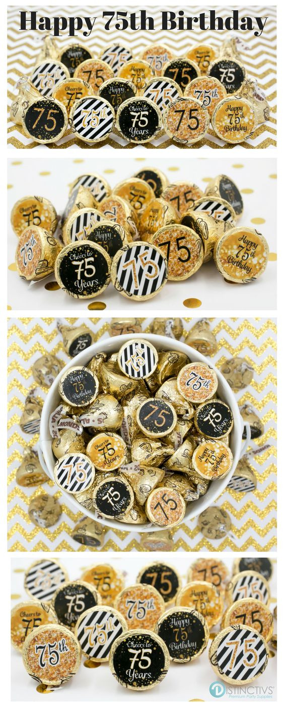 Best ideas about 75th Birthday Party Favors . Save or Pin 75th Birthday Party Decorations Gold & Black Stickers Now.