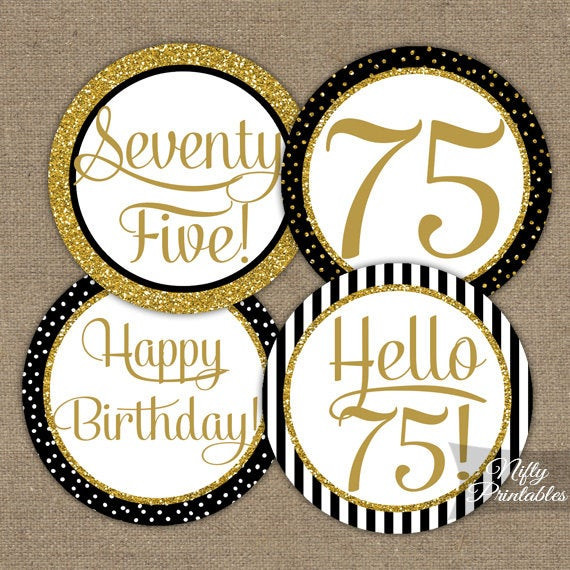 Best ideas about 75th Birthday Party Favors . Save or Pin 75th Birthday Cupcake Toppers Black & Gold 75 Years Bday Now.