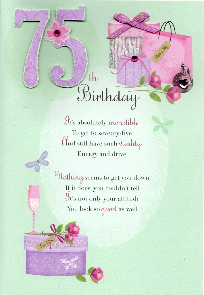 Best ideas about 75th Birthday Wishes . Save or Pin 75th Happy Birthday Greeting Card Cards Now.