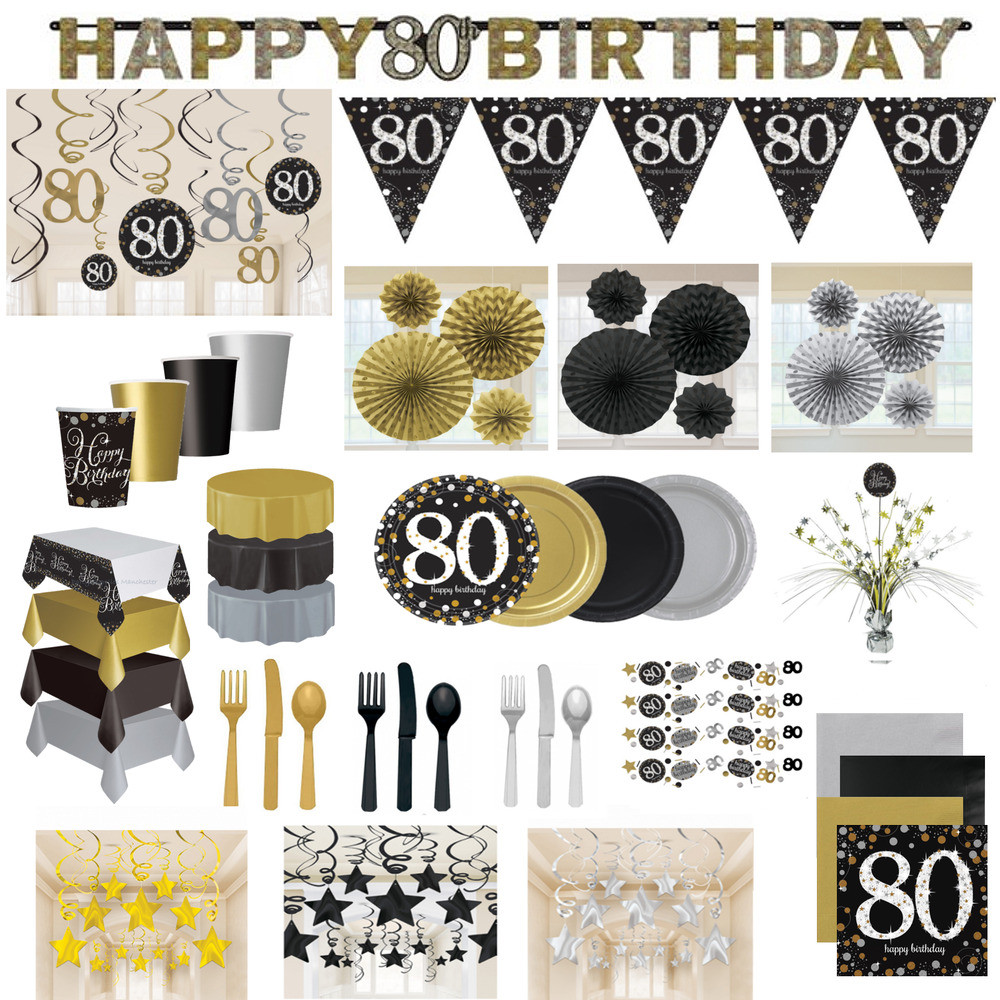 Best ideas about 80th Birthday Decor . Save or Pin 80th Birthday Party Decorations Black Gold Tableware Now.