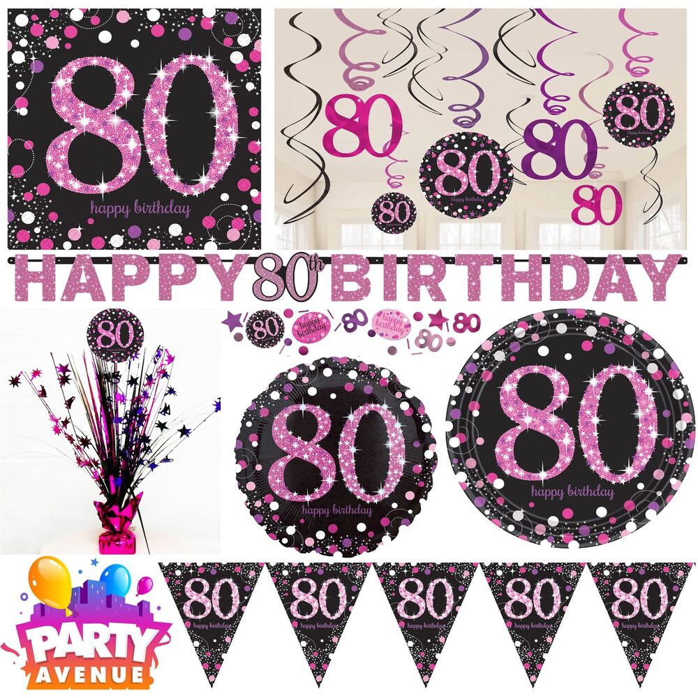 Best ideas about 80th Birthday Decor . Save or Pin Pink Sparkling Celebration 80th Birthday Party Tableware Now.