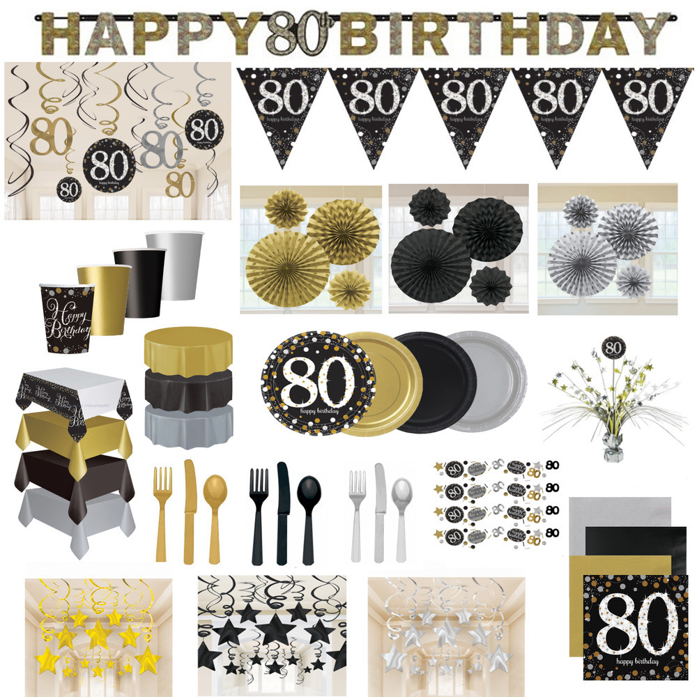 Best ideas about 80th Birthday Decorations . Save or Pin 80th Birthday Party Decorations Black Gold Tableware Now.